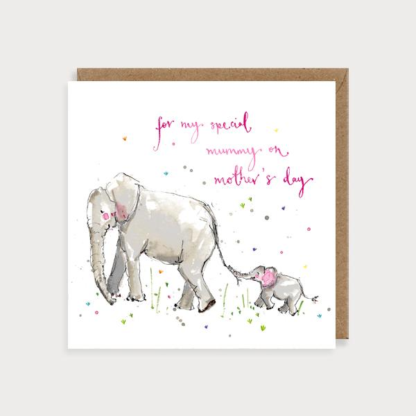 Image of illustrated card with elephants and the caption for my special mummy on mother's day