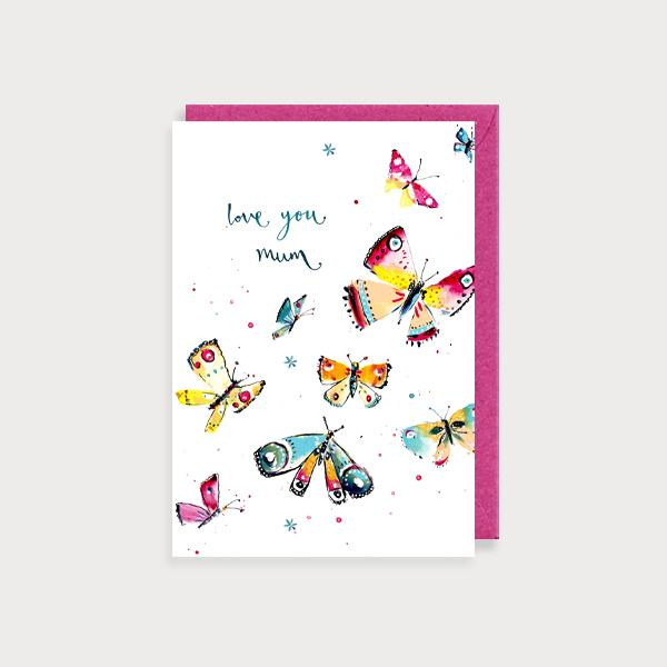 Image of illustrated card with butterflies and the caption love you mum butterflies