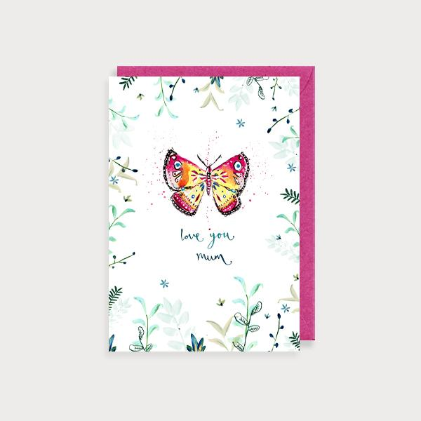 Image of illustrated card with a butterfly and the caption love you mum