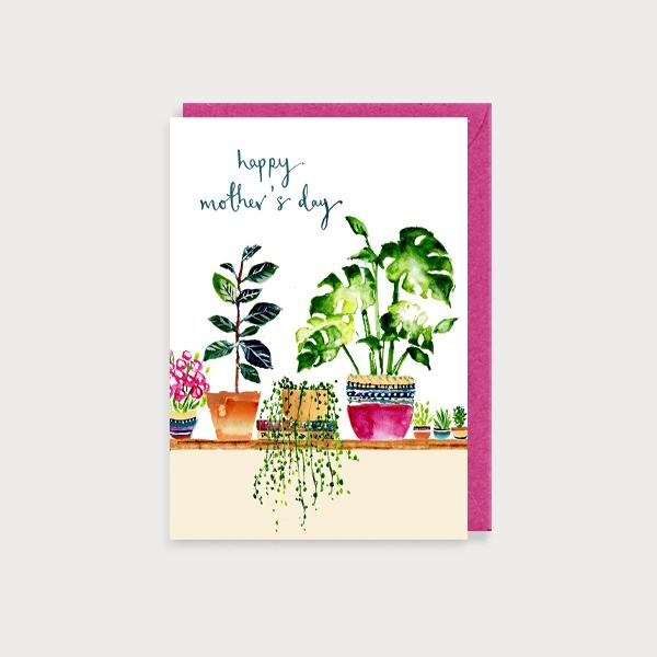Image of illustrated card with plants and the caption happy mother's day