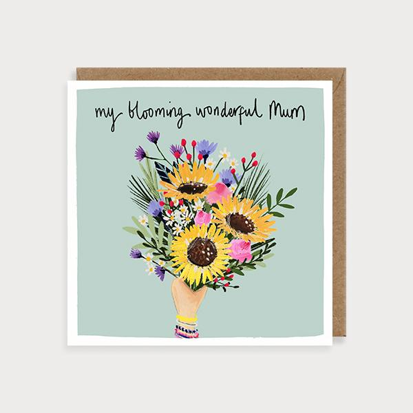 Image of illustrated card with a bunch of flowers and the caption my blooming wonderful mum