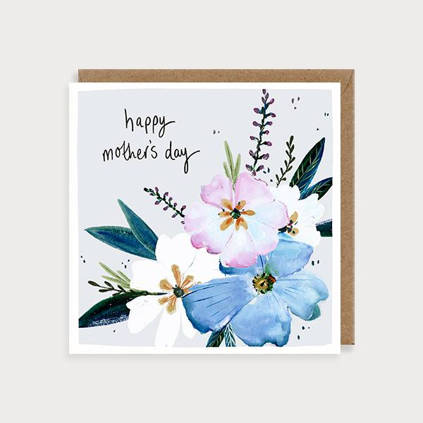 Image of illustrated card with flowers and the caption Happy Mother's Day