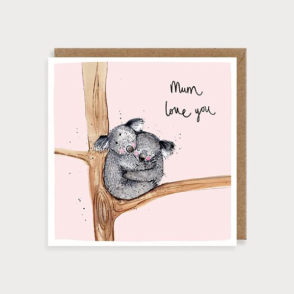 Image of illustrated card with koalas and the caption mum love you