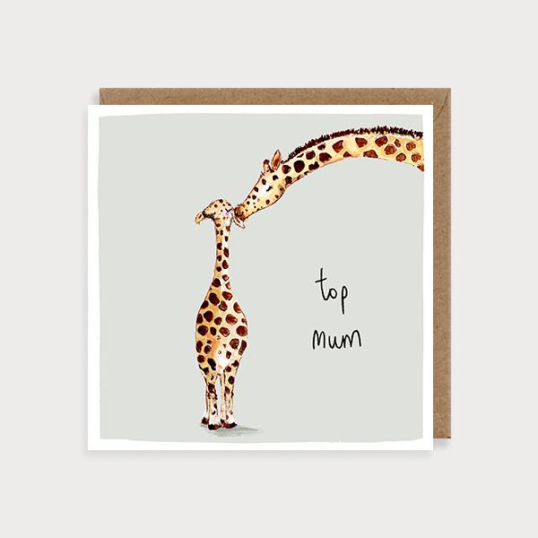 Image of illustrated card with giraffes and the caption top mum