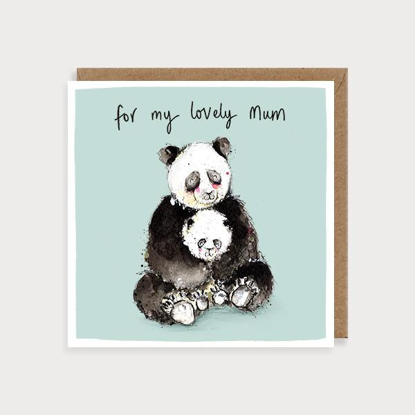 Image of illustrated card with pandas and the caption for my lovely mum