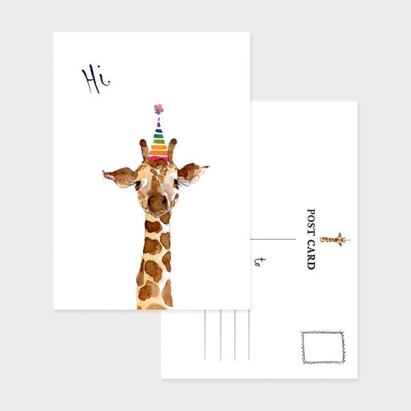 Image of an illustrated portrait postcard with a giraffe wearing a party hat and the caption Hi