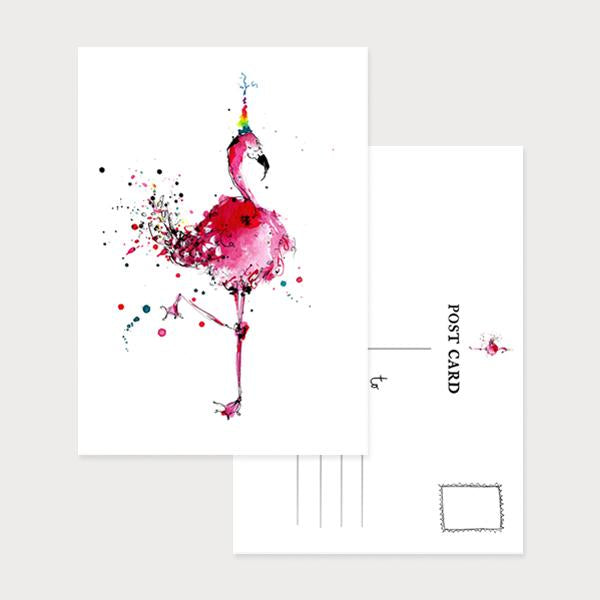 Image of an illustrated portrait postcard with a flamingo wearing a party hat