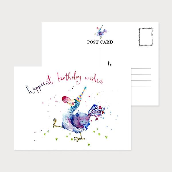 Image of an illustrated landscape postcard with a colourful dodo and the caption Happiest Birthday Wishes