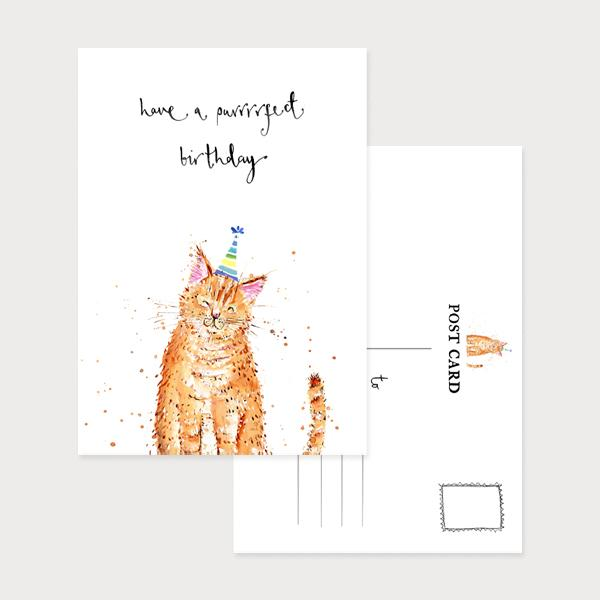 Image of an illustrated portrait postcard with a smiling cat in a party hat and the caption Have a Purrrfect Birthday