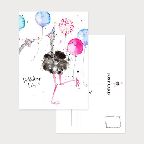 Image of an illustrated portrait postcard with 2 ostriches and party ballons with the caption Birthday Babe