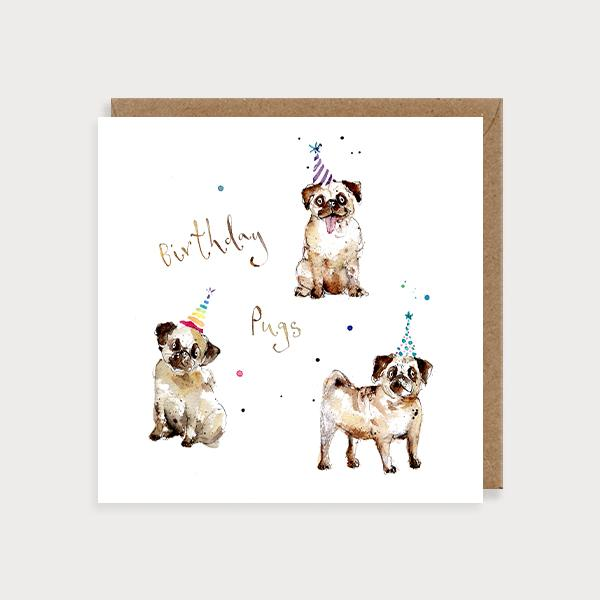 Image of illustrated card with pugs and the caption birthday pugs