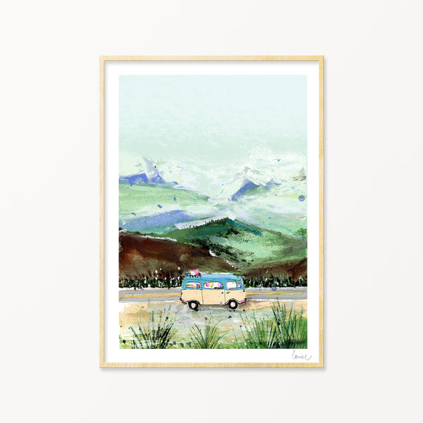 Image of illustrated campervan art print in frame