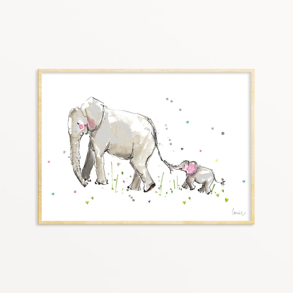 Image of illustrated mum and baby elephant art print in frame