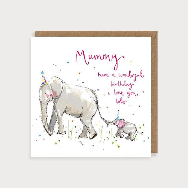 Image of illustrated mummy birthday card with 2 elephants and the caption Mummy Have a Wonderful Birthday Love You Lots