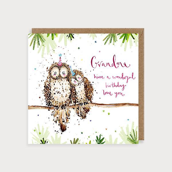 Image of illustrated grandma birthday card with 2 owls on a branch and the caption Grandma Have a Wonderful Birthday Love You