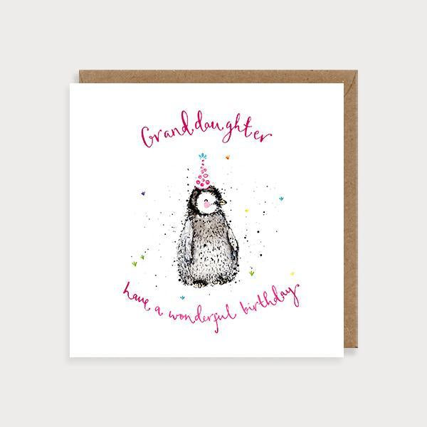 Image of illustrated granddaughter birthday card with a penguin and the caption Granddaughter Have a Wonderful Birthday
