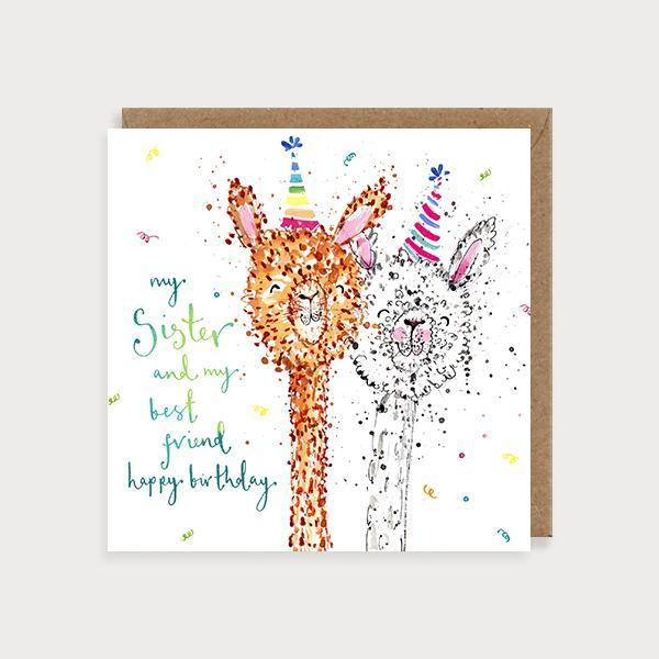 Image of illustrated sister birthday card with 2 alpacas and the caption My Sister and my Best Friend Happy Birthday