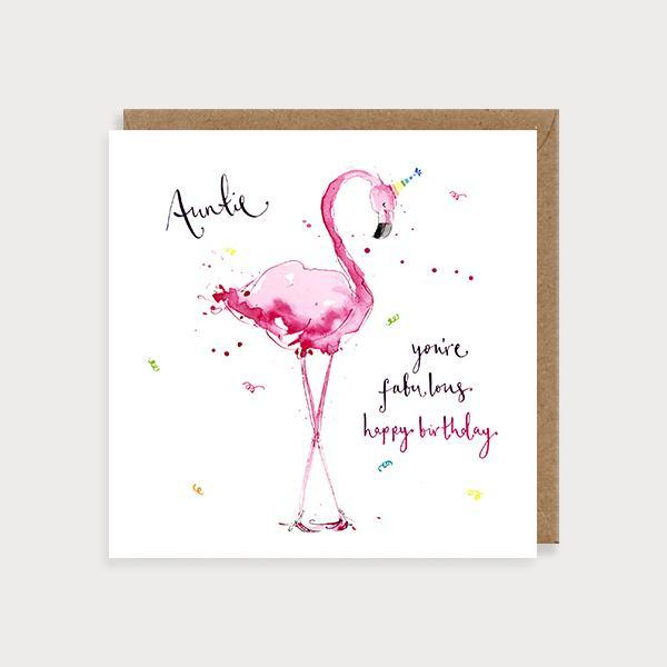 Image of illustrated auntie birthday card with a flamingo and the caption Auntie You're fabulous Happy Birthday
