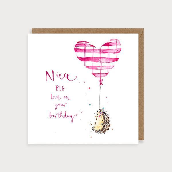 Image of illustrated niece birthday card with a hedgehold holding balloon and the caption Niece Big Love on Your Birthday