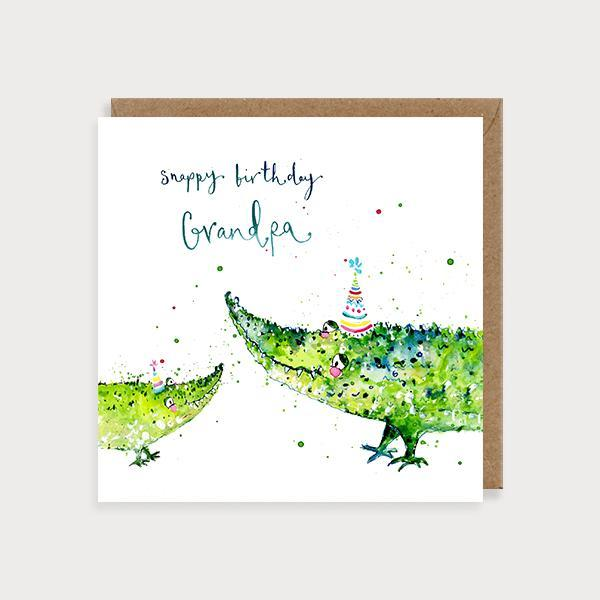 Image of illustrated grandpa birthday card with 2 crocodile and the caption Snappy Birthday Grandpa