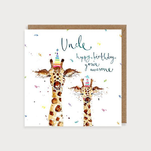 Image of illustrated uncle birthday card with 2 giraffes and the caption Uncle Happy Birthday You're Awesome