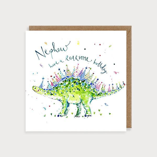 Image of illustrated nephew birthday card with a stegosaurus and the caption Nephew have a Roarsome Birthday