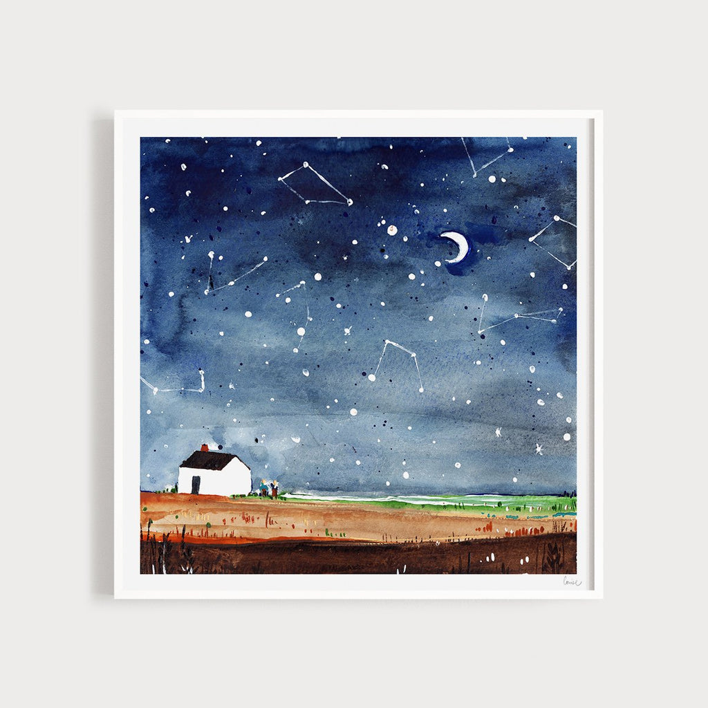Image of an illustrated art print featuring a starry night scene and a house