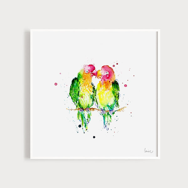 Image of an illustrated art print featuring two colourful lovebirds