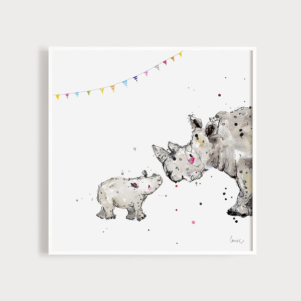 Image of an illustrated art print featuring a baby rhino and its parent