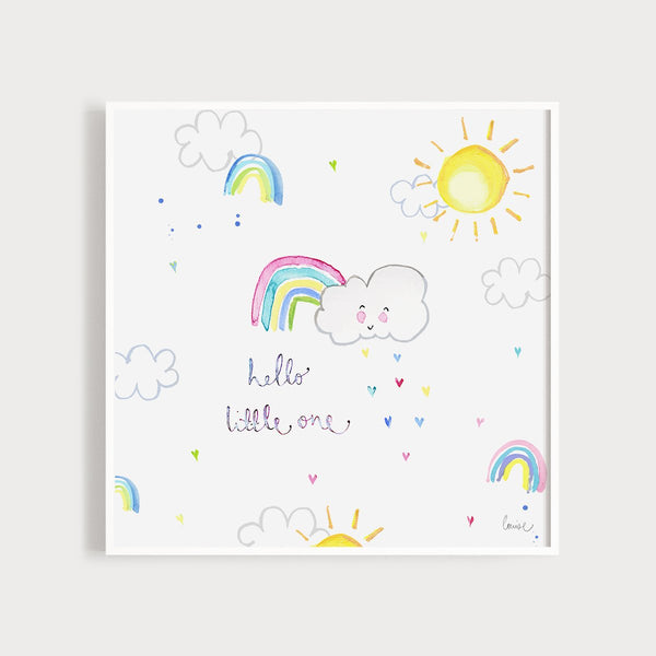 Image of an illustrated art print featuring clouds and rainbows and the caption Hello Little One