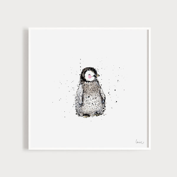Image of an illustrated art print featuring a baby penguin