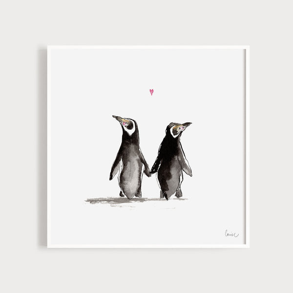 Image of an illustrated art print featuring two penguins
