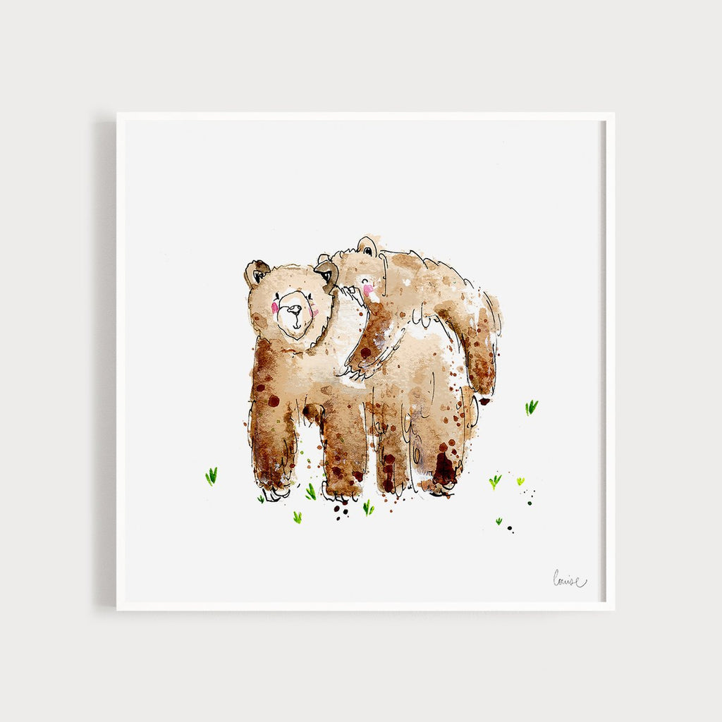 Image of an illustrated art print featuring 2 bears hugging