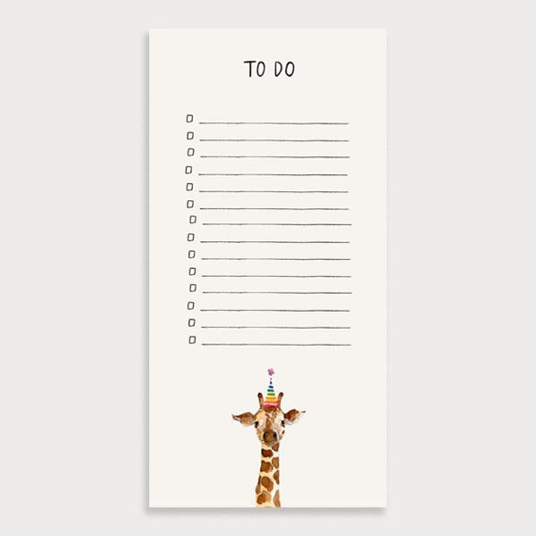 Image of a grey illustrated lined to do list with checkboxes and the title To Do. There is a giraffe in a party hat character at the bottom