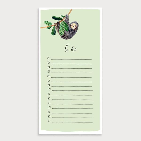 Image of a light green illustrated lined to do list with checkboxes and the title To Do. There is a sloth hanging off a branch character