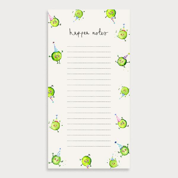Image of an illustrated lined to do list with the title Happea-Notes. There is a border of dancing peas wearing party haps.