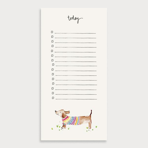 Image of an illustrated lined to do list with checkboxes and the title Today. There is a sausage dog wearing a jumper character.