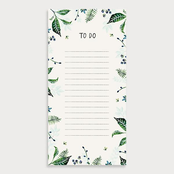 Image of an illustrated lined to do list with the title To Do and foliage leaf design border