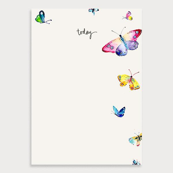 Image of an illustrated cream blank notepad with colourful butterflies and the title Today