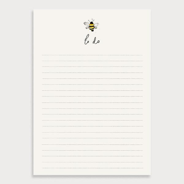 Image of an illustrated cream lined notepad with a bee at the top and the title To Do