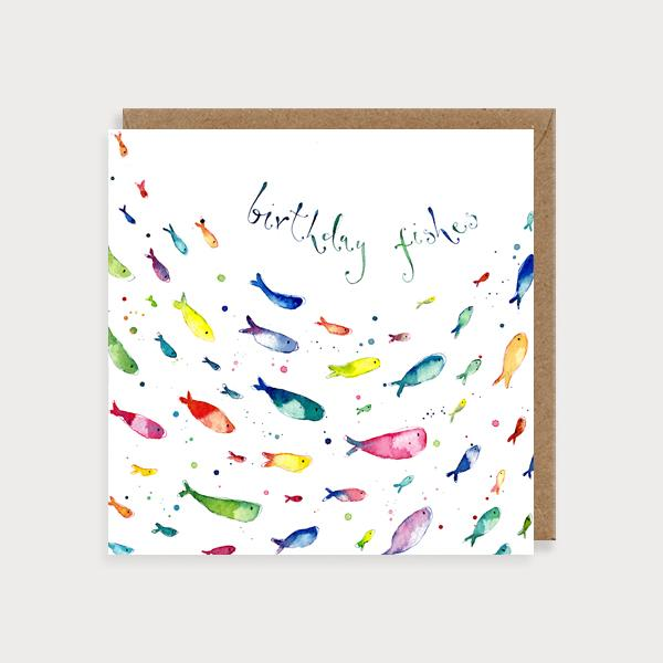 Image of illustrated card with fishes and the caption birthday fishes