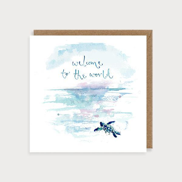 Image of illustrated new baby card with a baby turtle and sea scene and the caption Welcome to the World
