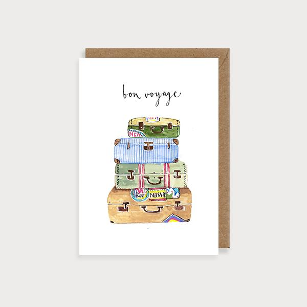 Image of illustrated card with suitcases and the caption bon voyage