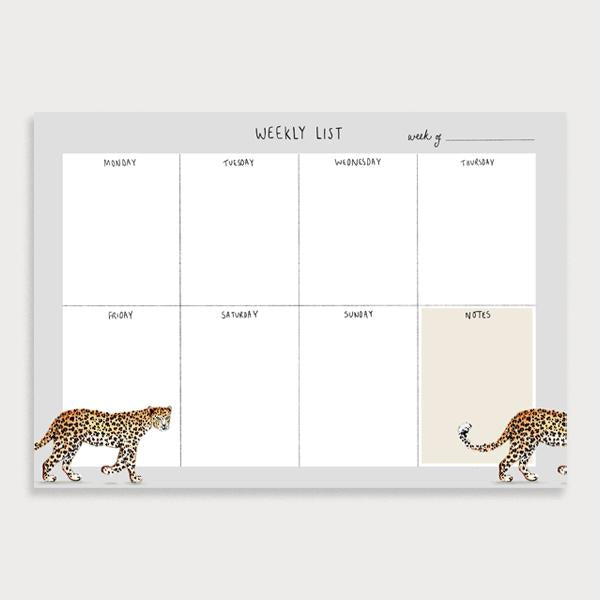 Image of illustrated weekly planner pad with a grey border and a leopard walking across the page. It has a title of Weekly List and has seperate boxes for the days of the week and a note section