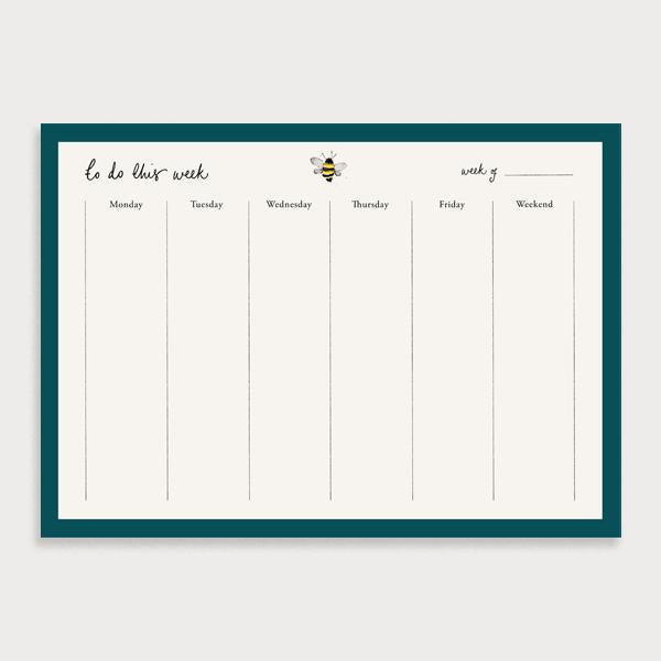 Image of illustrated weekly planner pad with a dark teal border and a bee at the top of the page. It has a title of To Do This Week and has seperate boxes for the days of the week and a note section