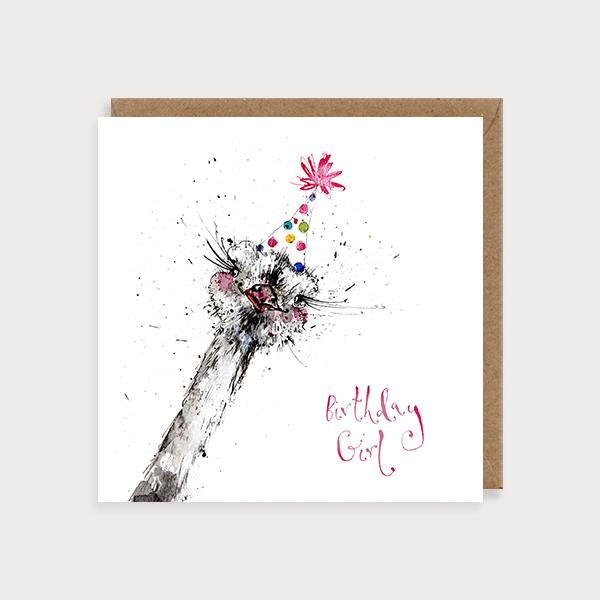 Image of illustrated for her birthday card with an ostrich in a party hat and the caption Birthday Girl