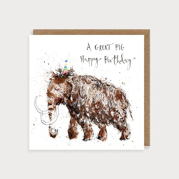 Image of illustrated birthday card with a mammoth in a party hat and the caption A Great Big Happy Birthday