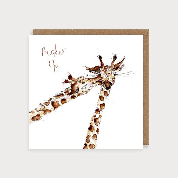 Image of illustrated card with giraffes and the caption pucker up