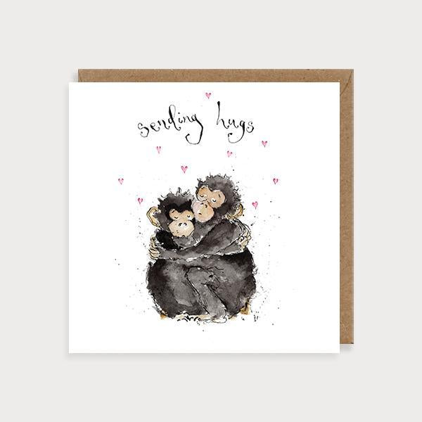 Image of illustrated friendship card with 2 monkeys hugging and the caption Sending Hugs