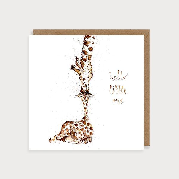 Image of illustrated new baby card with a giraffe kissing a baby giraffe and the caption Hello Little One